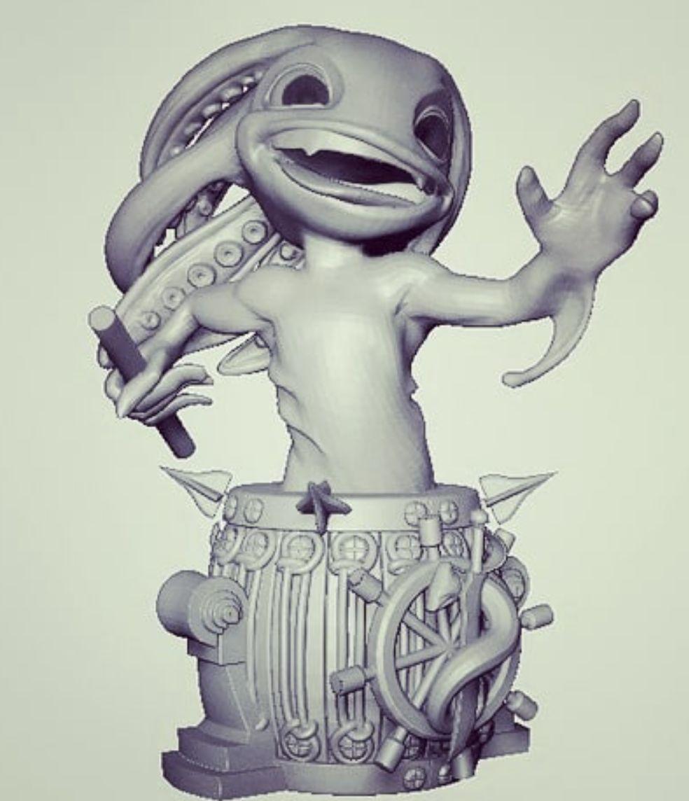 3D艺术家分享原创作品:3D小鱼人模型